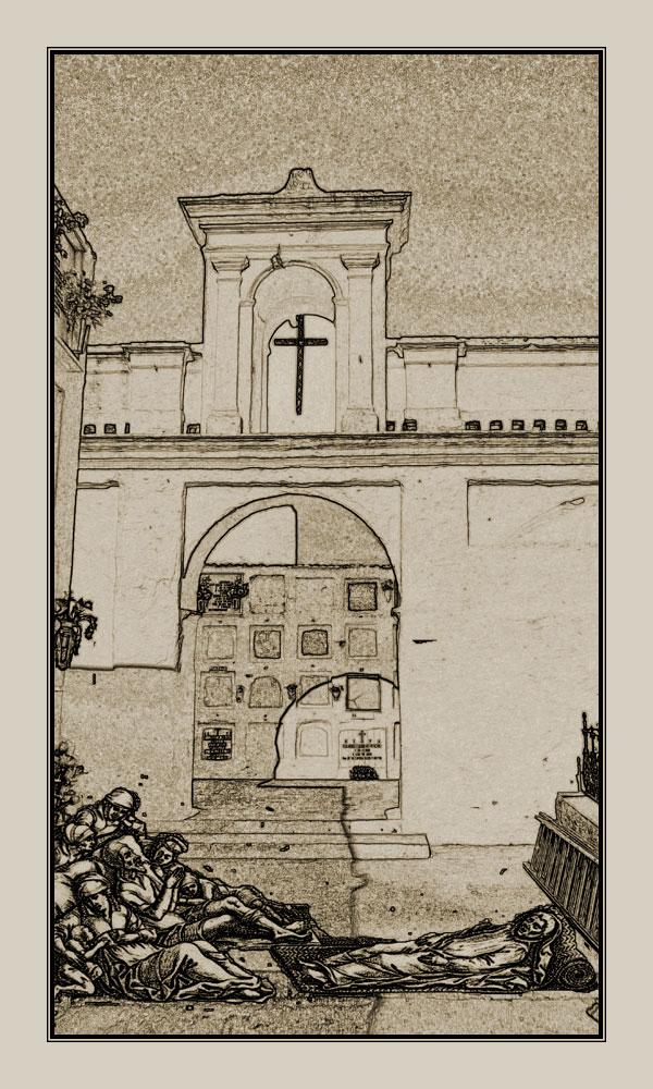 Además de a la desaparecida ermita y cementerio de san Sebastián, los enfermos de peste fueron llevados a la actual ermita y cementerio de san Antón.   Ilustración: José María Hermoso