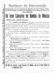 Cartel anunciador del Gran Concurso de Bandas de Música de Sanlúcar, celebrado el 20 de agosto de 1935, cuyo jurado presidió Beigbeder. | Ilustración: Archivo Musical de Luis Romero