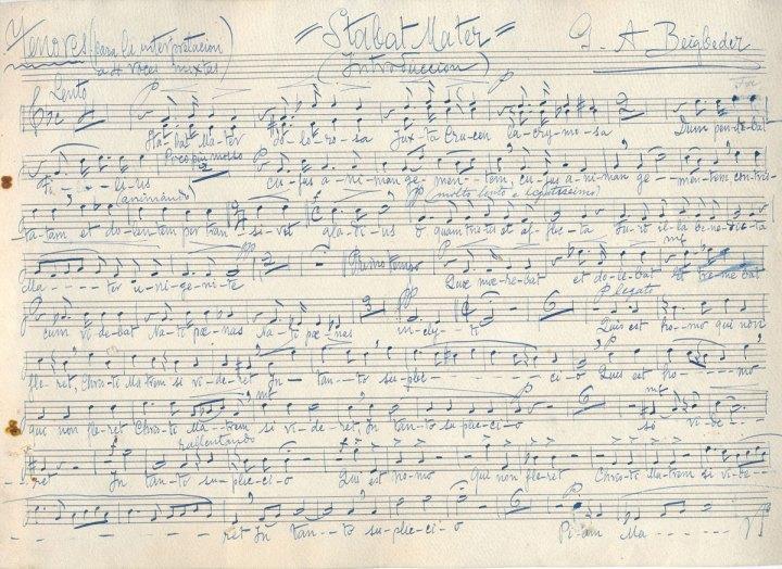 Parte de tenor del arreglo para cuatro voces que el propio Beigbeder hizo de su Stabat mater expresamente para el Orfeón Santa Cecilia de Sanlúcar. | Foto: Archivo Musical de Luis Romero