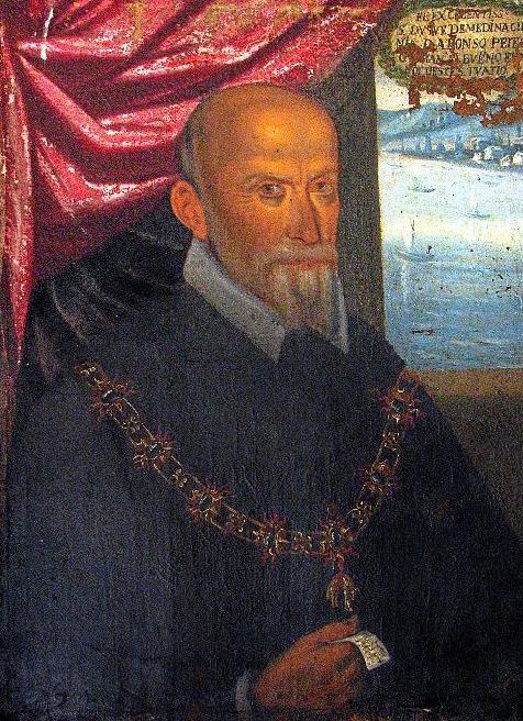 Alonso Pérez de Guzmán, VII duque de Medina Sidonia (Sanlúcar de Barrameda, 1550 - 1615), en un retrato de Francesco Giannetti de 1612.
