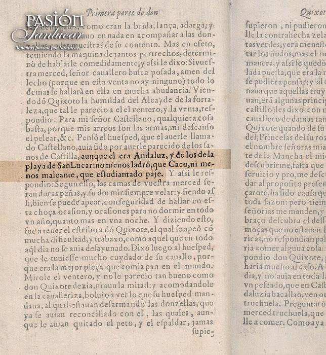 Mención a Sanlúcar en el capítulo II de El Quijote.