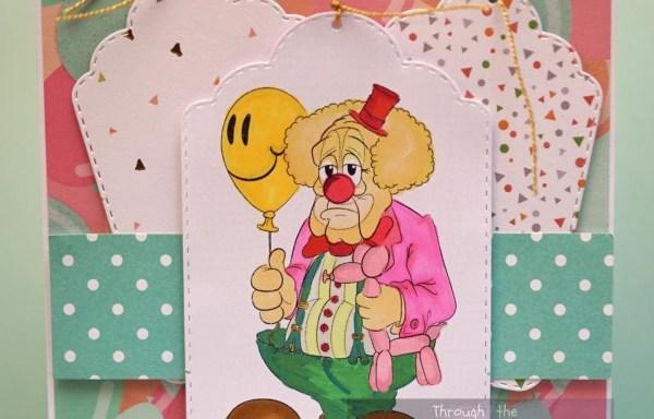 Klaun – kartka do personalizacji.