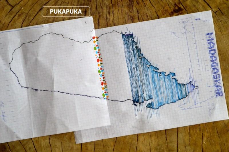Odwzorowanie mapy Madagaskaru na kartce papieru