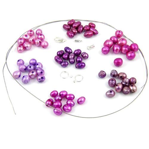 Naszyjnik Liliowe perły - krok 1