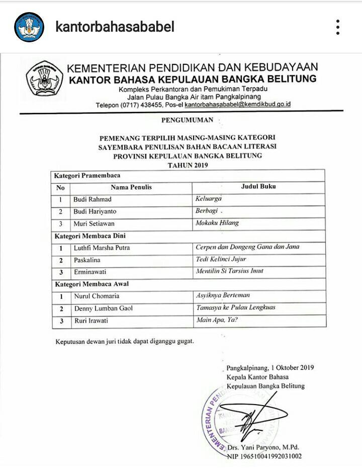 Pemenang Sayembara Penulisan Bahan Bacaan Literasi Kantor Bahasa Kepulauan Bangka Belitung 2019