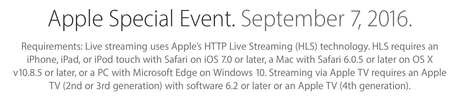 2016年 9月7日 Appleスペシャルイベント