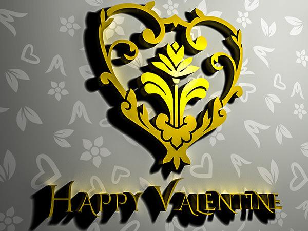 Happy Valentine1 Type1 / 3D ロゴ & テキスト(ベーシック)