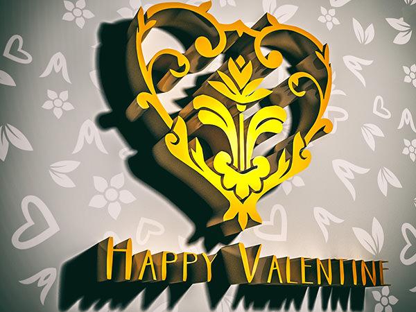 Happy Valentine2 Type4 / 3D ロゴ & テキスト(周辺減光)