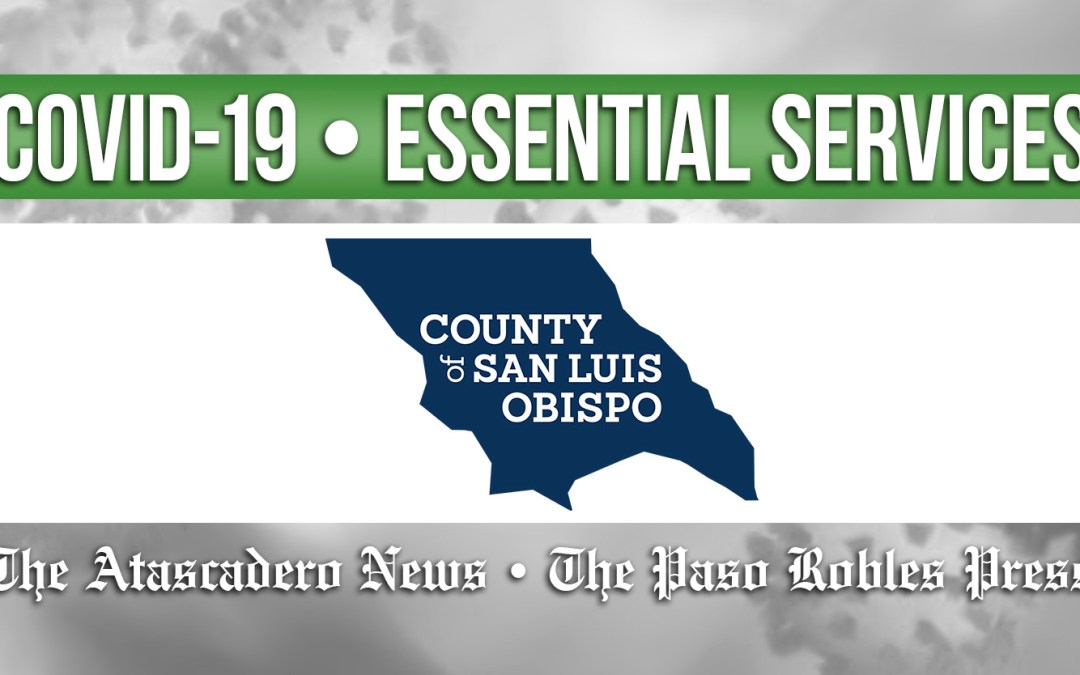 Essential SLO County Services to Continue Under Shelter-at-Home Order