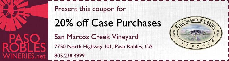 San Marcos Creek Vineyard 20% off Case Purchase Coupon
