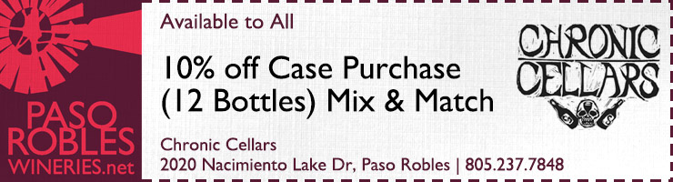 Chronic Cellars 10% off Case Coupon