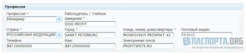 Образец заполнения анкеты на визу в Литву - Шаг 4. Профессия.