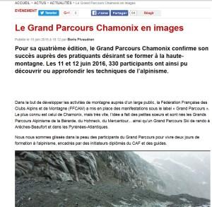 Article web sur le Grand parcours alpinisme Chamonix- Montagne magazine