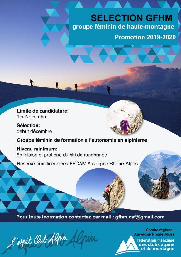 affiche selection gfhm bleue groupe féminin de haute montagne alpinisme
