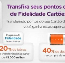Smiles oferece 20% de bonus na transferência de pontos dos cartões Bradesco