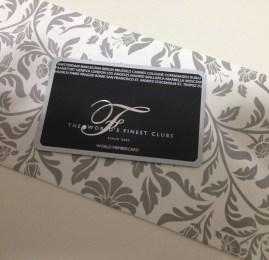 Kit de boas vindas do cartão The World's Finest Clubs