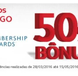 Promoção prorrogada! Ganhe 50% de bônus ao transferir pontos para o Amigo dos cartões Bradesco e American Express