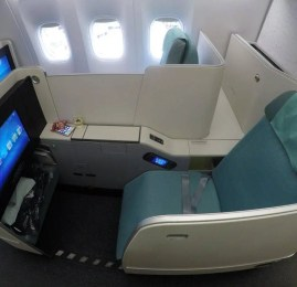 Classe Executiva da Korean Air no B77W – Hong Kong p/ Seoul