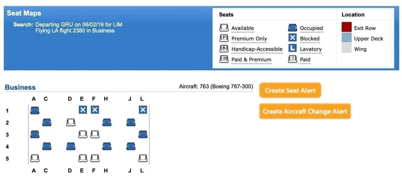 mapa de assentos nova executiva latam 767