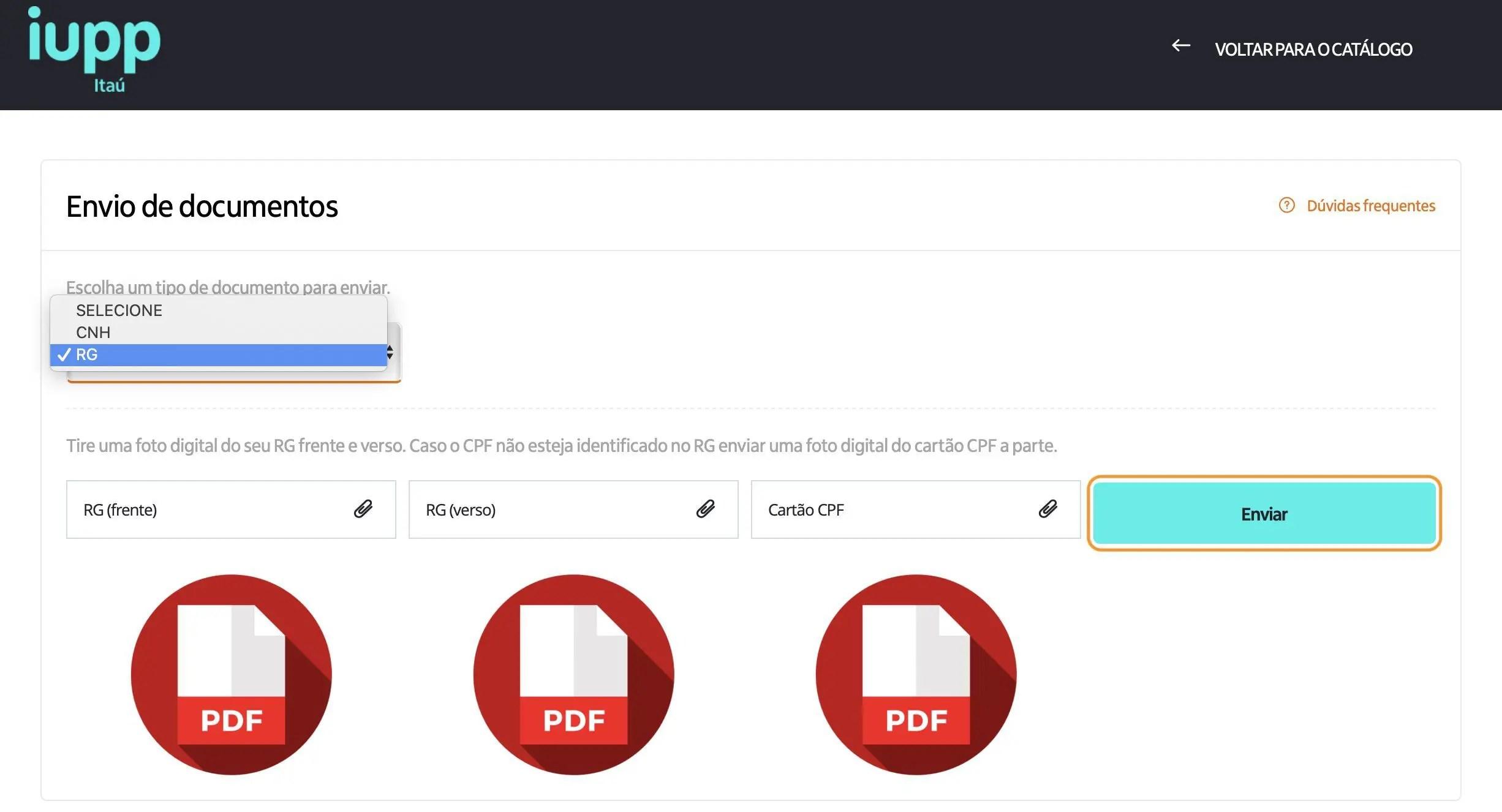 enviar documentos para a verificação em duas etapas do iupp