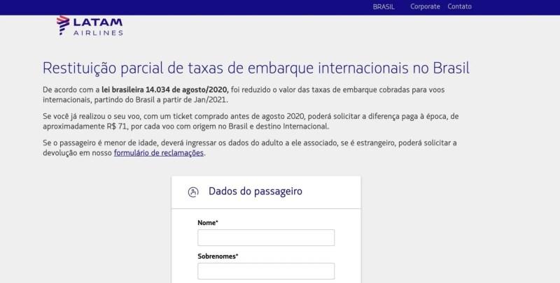 LATAM reembolso Tarifa internacional