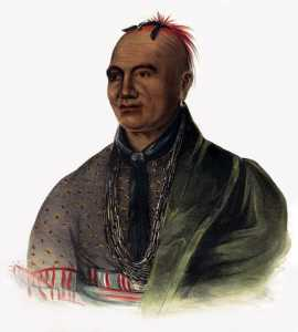 """Charles Bird King, """"Joseph Brant (Mohawk),"""" from Thomas Loraine McKenney and James Hall. History of the Indian tribes of North America. Philadelphia: E. C. Biddle, 1836-1844."""