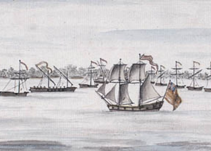 Watercolor depicting the American line of battle before the 1776 Battle of Valcour Island. Drawing is titled as follows: New England Armed Vessels in Valcure Bay, Lake Champlain [including Royal Savage, Revenge, Lee, Trumble, Washington, Congress, Philadelphia, New York, Jersey,. Connecticut, Providence, New haven, Spitfire, Boston, and the Liberty] commanded by Benedict Arnold. Courtesy of National Archives of Canada.