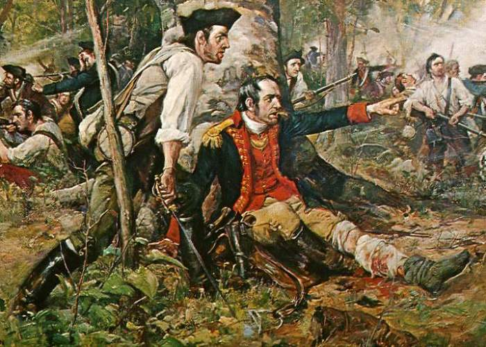 """Herkimer at the Battle of Oriskany."" Although wounded, General Nicholas Herkimer rallies the Tryon County militia at the Battle of Oriskany on August 6, 1777. Painting at the public library of Utica, New York."