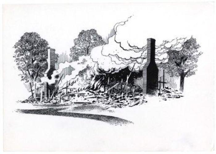 As they retreated, the British burned what they could. 1975 illustration used by the National Park Service/Harpers Ferry Center for wayside exhibits at Saratoga National Historical Park.