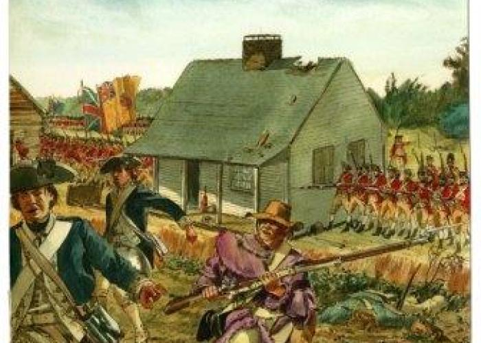 American Continental soldiers retreating as British soldiers advance on John Freeman's house during the Battle of Saratoga, September 19, 1777.  A mixed media illustration by artist Don Troiani, commissioned by the NPS for Saratoga National Historical Park.