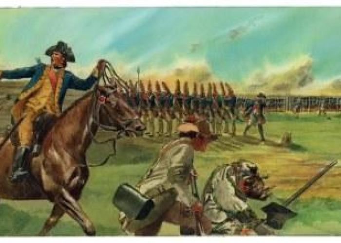 """Artist's conception of the events of October 7, 1777, during the Battle of Bemis Heights, in which Benedict Arnold (shown on horseback) led an assault against German troops at the Breymann Redoubt.  During the assault, Arnold was wounded in the leg and his horse """"Warren"""" was killed. 1976 mixed media illustration by artist Don Troiani, commissioned by the NPS for Saratoga National Historical Park."""