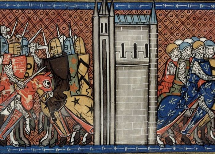 King John of England in battle with France's  Prince Louis VIII of France. Courtesy of  British Library.