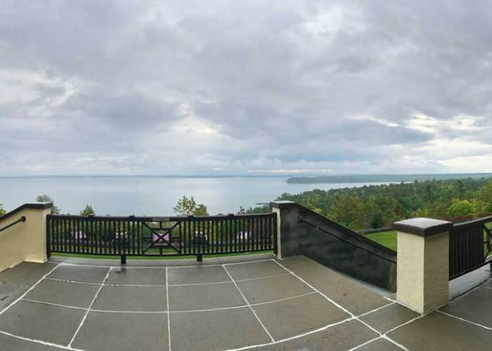 Panoramic view from back porch of Clinton Community College. Valcour Island on the right.  Photo by Gretel Schueller.