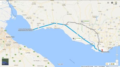 Clique no mapa para amplir - Montevidéu para Colônia Del Sacramento