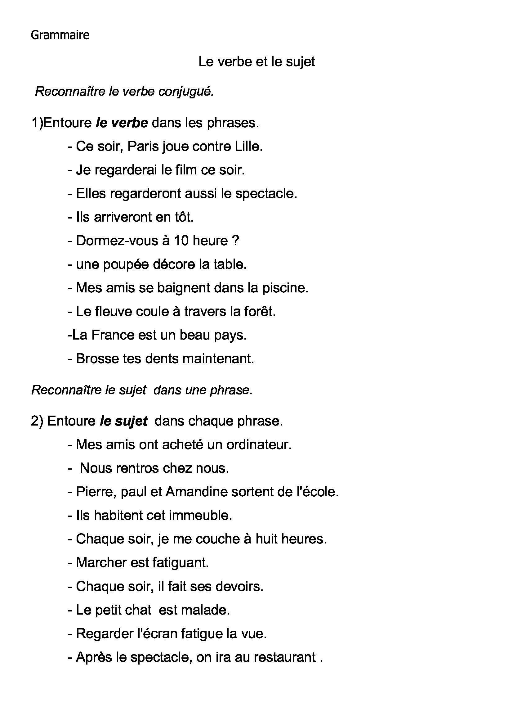 Grammaire Francais Evaluations Et Exercices Ce2 Cm1 Et Cm2
