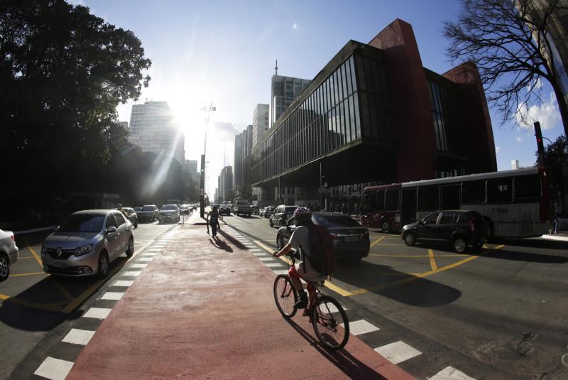 Ciclovia na Avenida Paulista. Foto: José Cordeiro/SP Turis