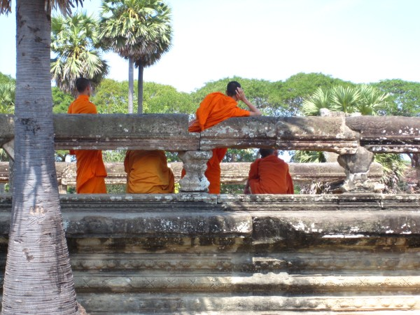 Monks at rest, Angkor Wat