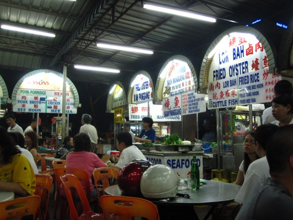 Hawker stalls in a Penang night market