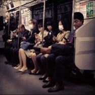 Texting     by Fran Simó japan, passengers, tokyo, ubiquography,