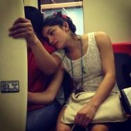 Tras la tabla de surf en el metro de Santiago  by Rafa Pérez passengers,