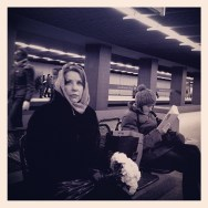 The woman with flowers       by Marta Pacheco iphonegraphy, metro, munich, passengers, streetphotography, ubiquography,