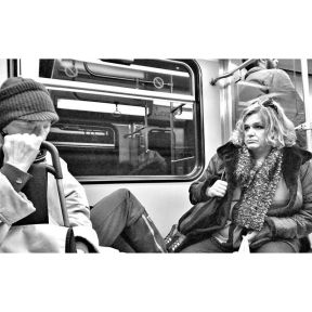 Closed eyes VS open eyes by Godo Chillida athens, blackandwhite, bnw, bnw_life, bnw_society, bw, bw_lover, bw_photooftheday, bw_planet, eyes, greece, monochrome, passengers, streetphoto, streetphotography, streetphotography_bw, streetphoto_bw, subway, ubiquography, women,