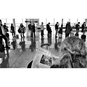 World News by Godo Chillida airport, barcelona, blackandwhite, bnw, bnw_life, bnw_society, bw, bw_lover, bw_photooftheday, bw_planet, monochrome, newspaper, passengers, queue, streetphoto, streetphotography, streetphotography_bw, streetphoto_bw, ubiquography,