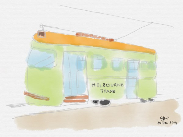 A Melbourne tram sketched by Arvind Passey
