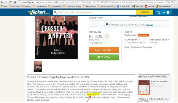 Crossed & Knotted... has a story written by me_Flipkart
