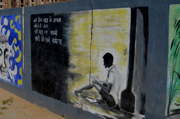 The graffiti on our way to the university seems to tells us the intrinsic relationship between Ahmedabad and Narendra Modi