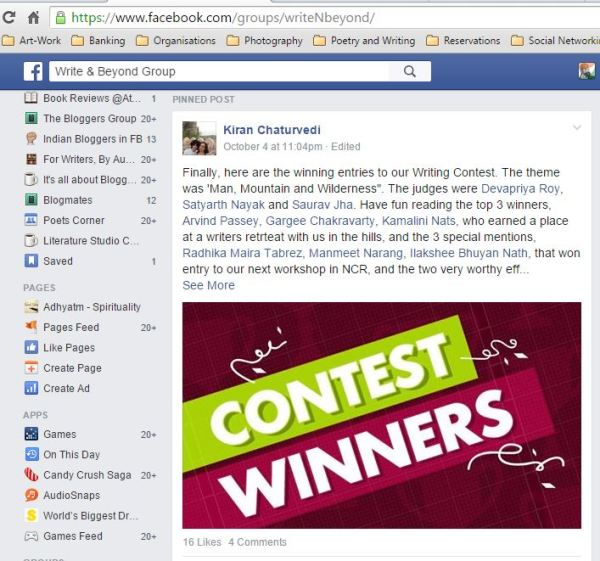2015_Write & Beyond group on FB_winner of short-story contest