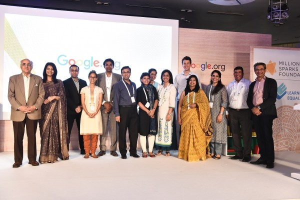Grantees Learning Equality, Million Sparks Foundation, Pratham Books StoryWeaver, and Pratham Education Foundation along with Rajan Anandan, VP South East Asia and India, Google and Nick Cain, Program Manager Education, Google.org present at Google.org event in New Delhi.