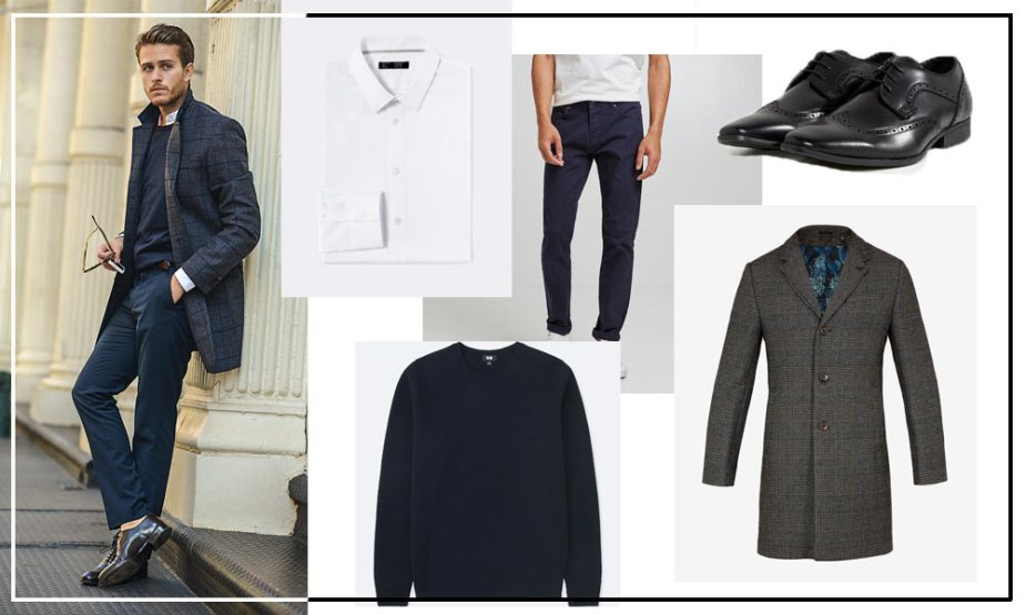 look homme manteau long, chino, chemise, pull en maille et derbie