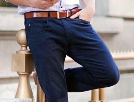 porter pantalon bleu marine homme